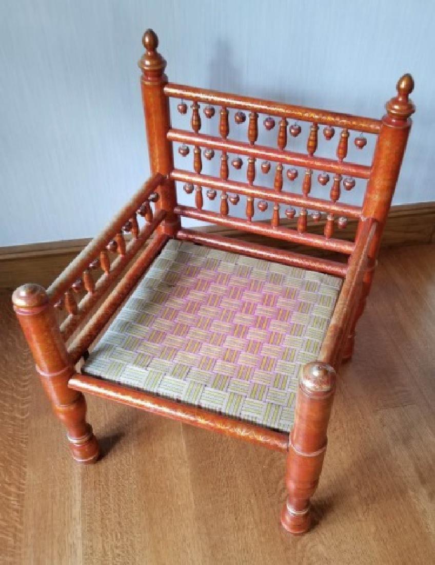 Pair Antique Handmade Punjabi Style Wedding Chairs - 6
