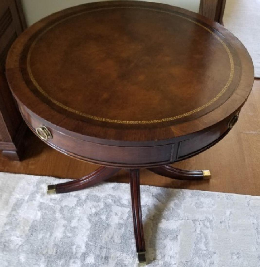 Antique Embossed Leather Top Round End Table