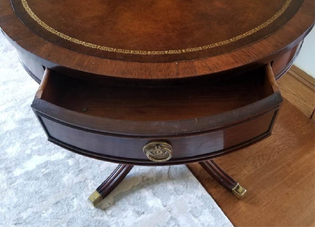 Antique Embossed Leather Top Round End Table - 2