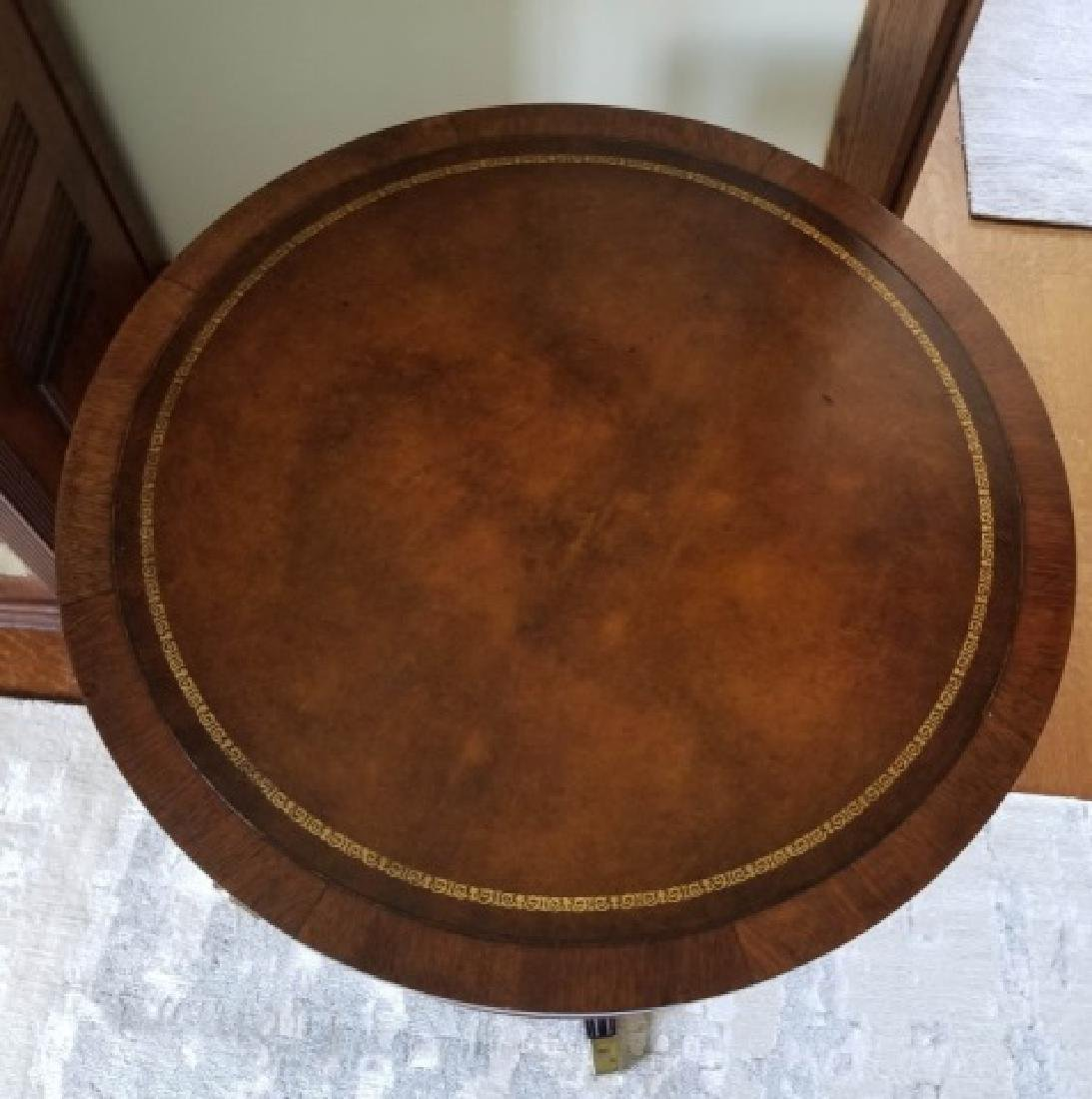 Antique Embossed Leather Top Round End Table - 3