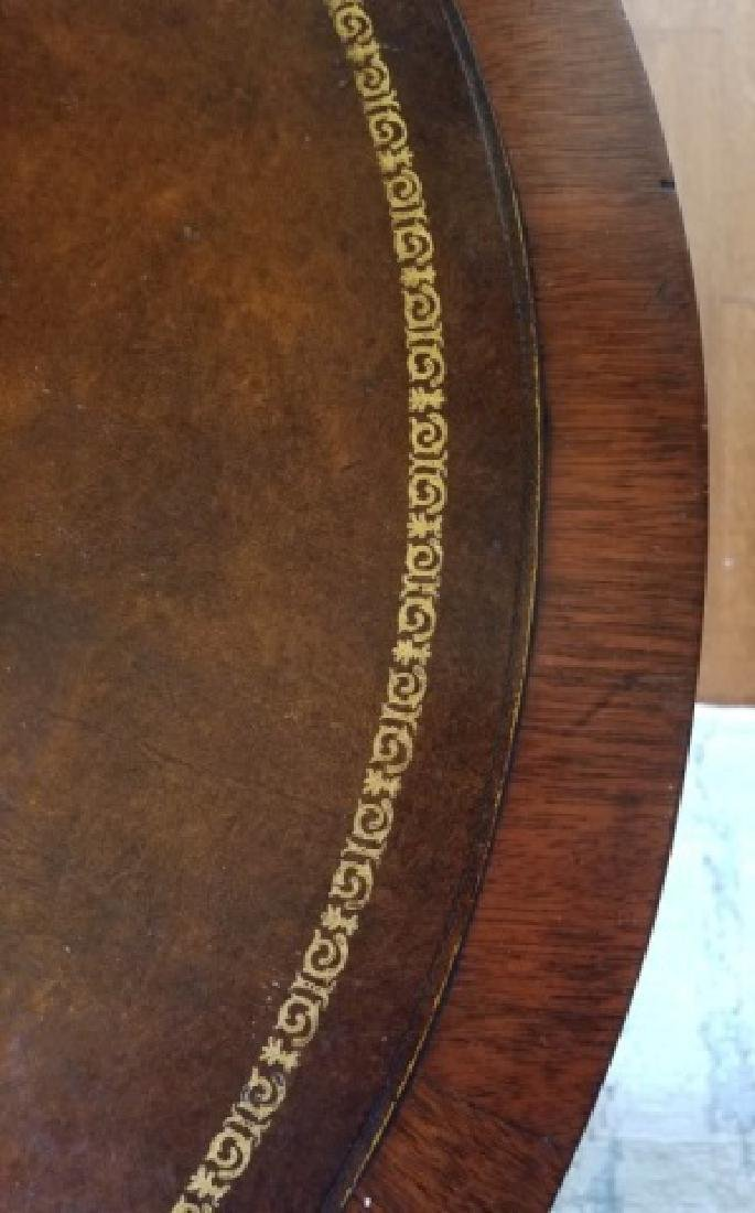 Antique Embossed Leather Top Round End Table - 6