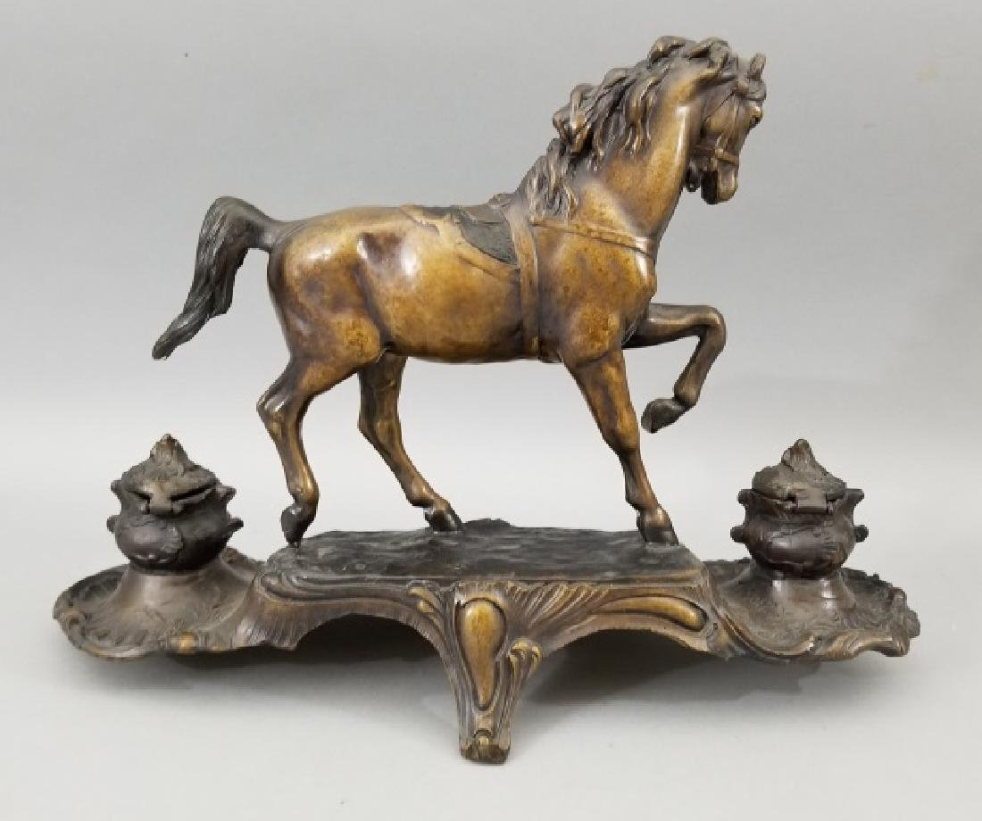 Large Bronze Horse Double Inkwell Desk Statue - 2