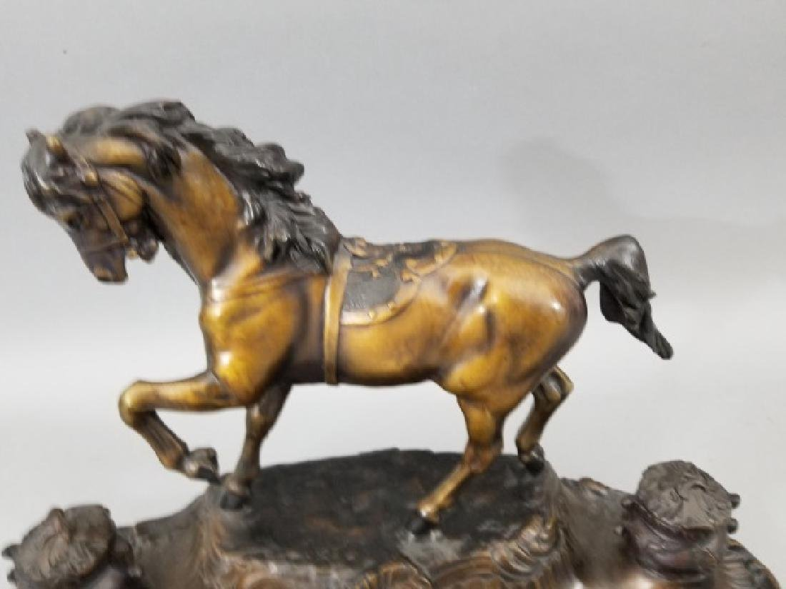 Large Bronze Horse Double Inkwell Desk Statue - 4