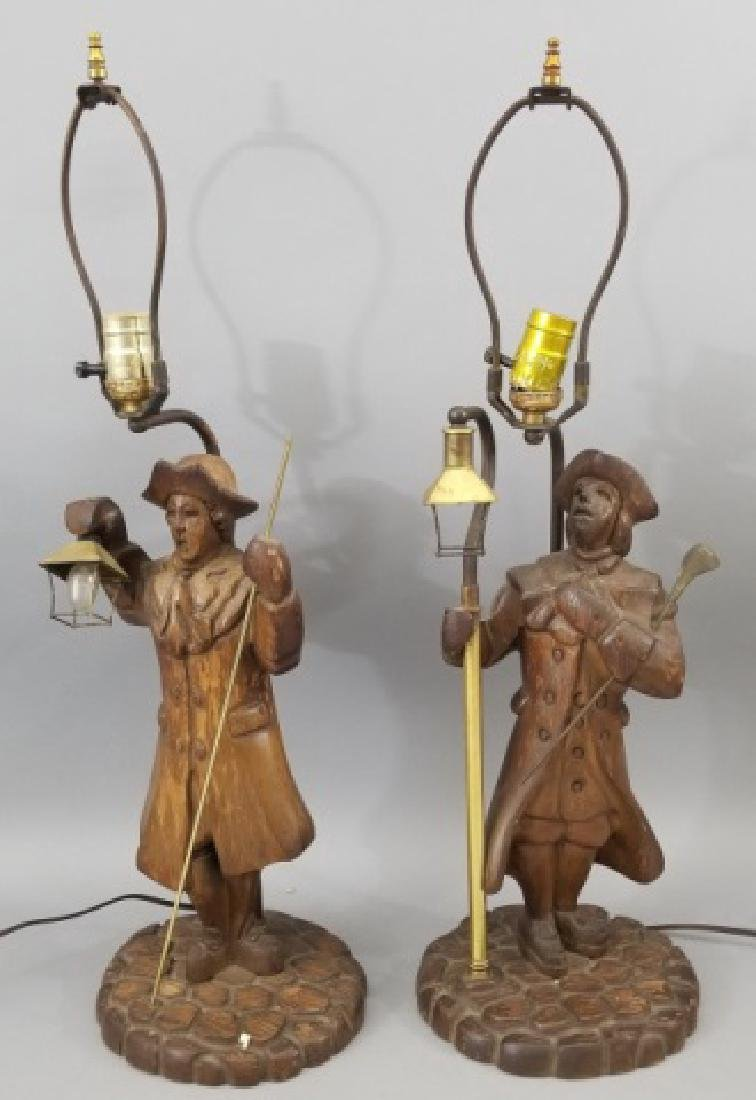 Pair Hand Carved Wood Statue Mount Lamps