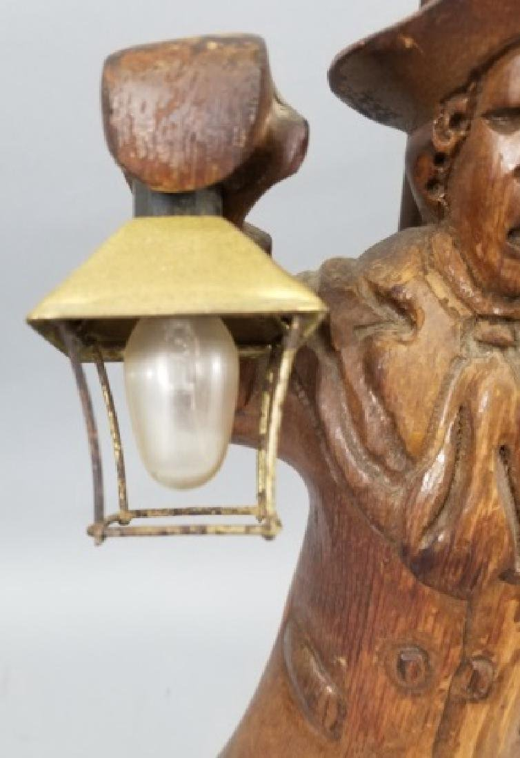 Pair Hand Carved Wood Statue Mount Lamps - 2