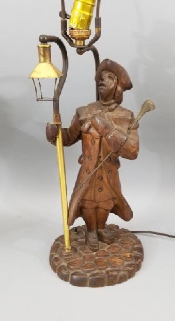 Pair Hand Carved Wood Statue Mount Lamps - 4