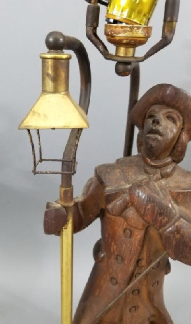 Pair Hand Carved Wood Statue Mount Lamps - 5