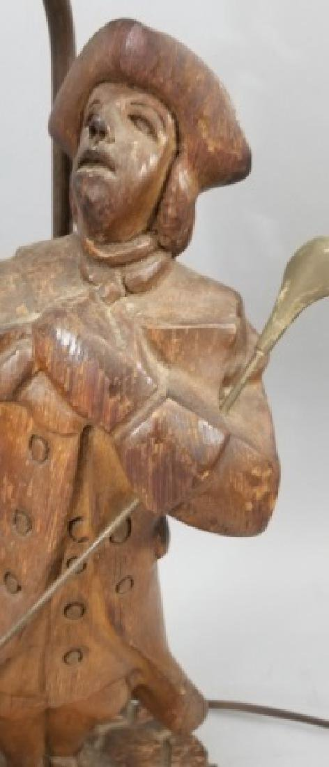 Pair Hand Carved Wood Statue Mount Lamps - 6