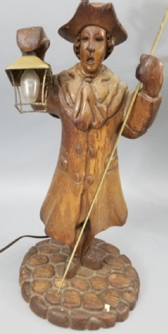 Pair Hand Carved Wood Statue Mount Lamps - 8