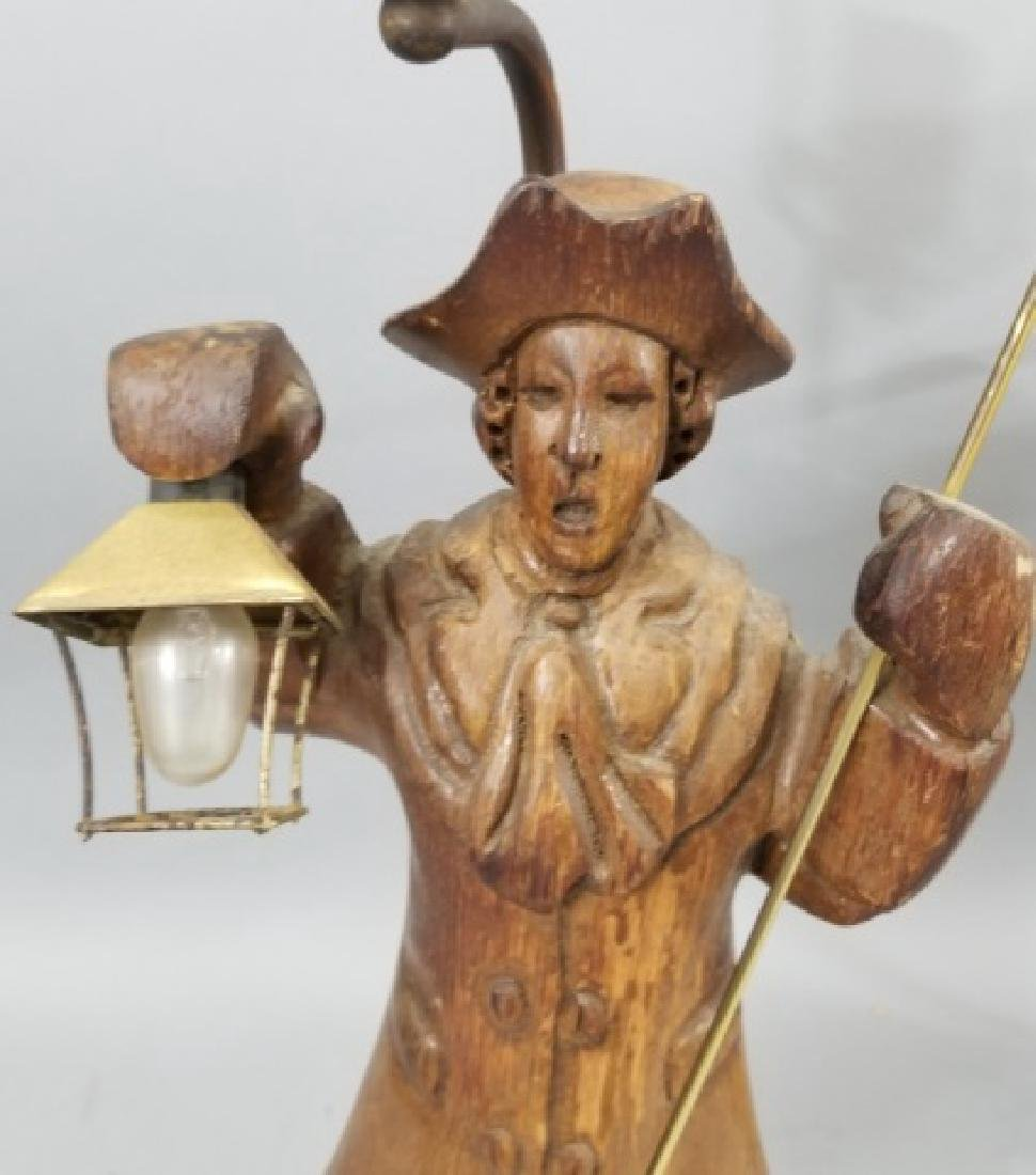 Pair Hand Carved Wood Statue Mount Lamps - 9