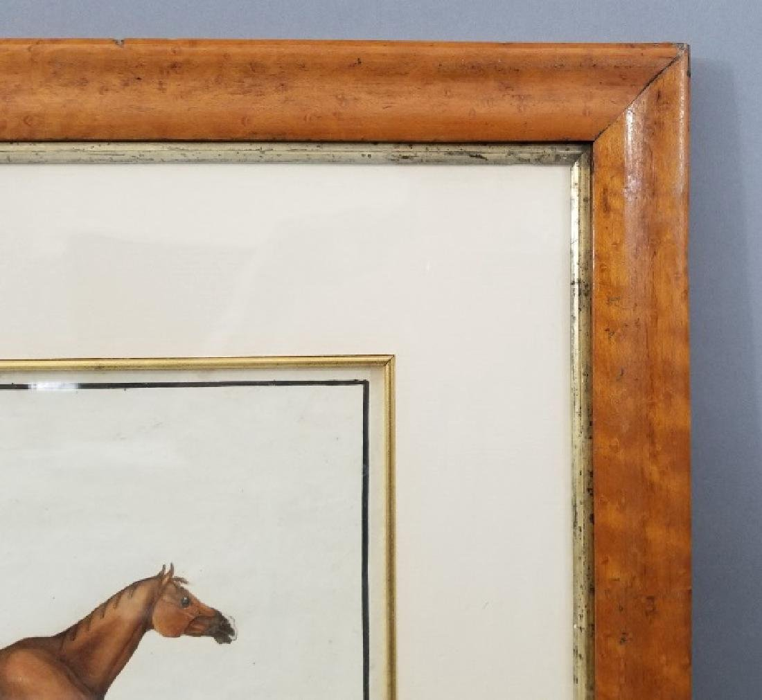 Antique 19th C Equestrian Watercolor Painting - 3