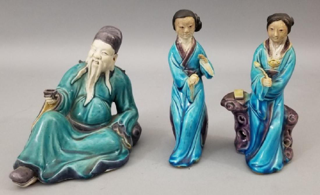 Three Handmade Hand Painted Chinese Statues