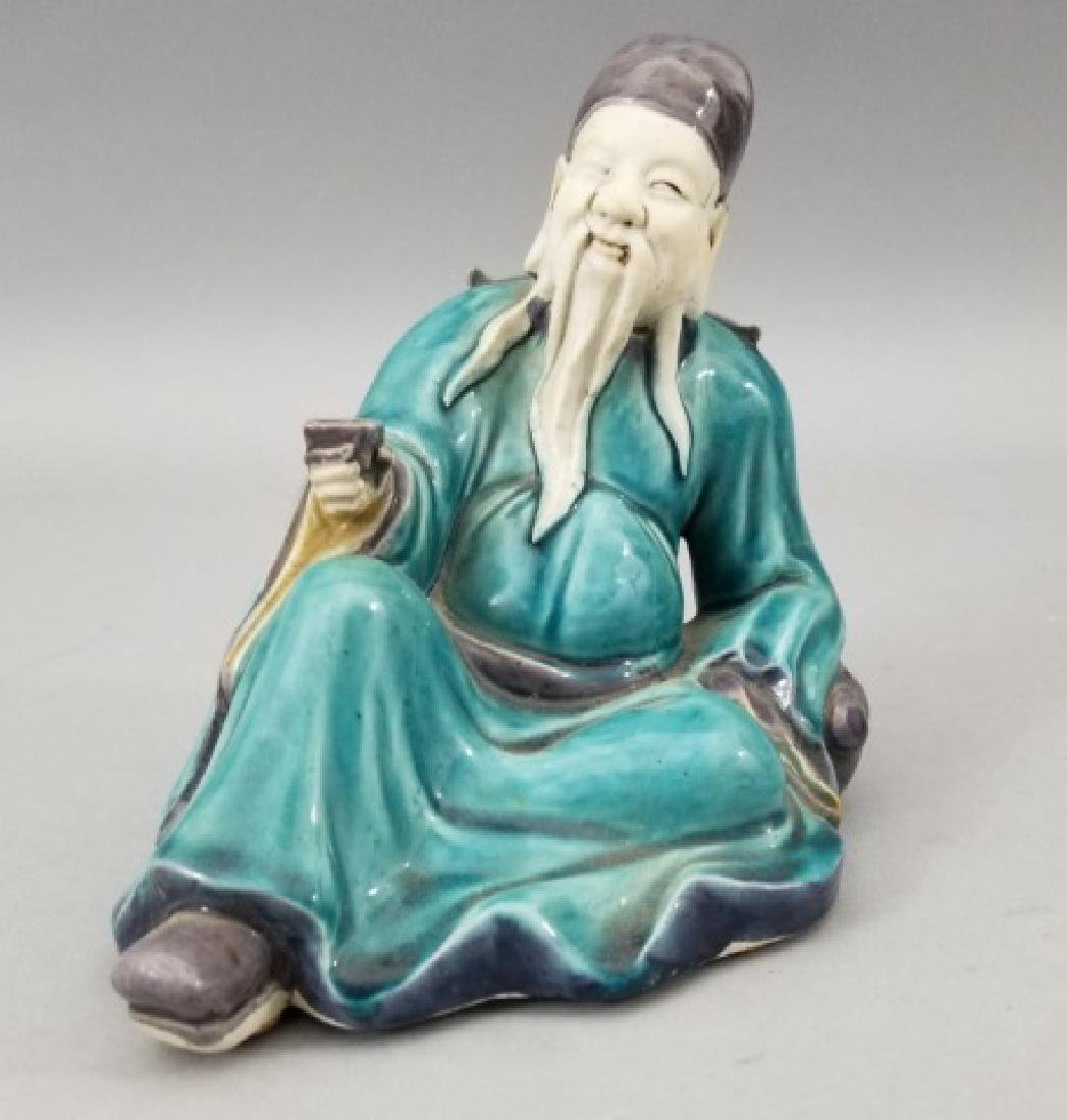 Three Handmade Hand Painted Chinese Statues - 3