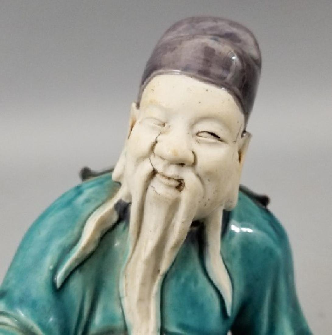 Three Handmade Hand Painted Chinese Statues - 4