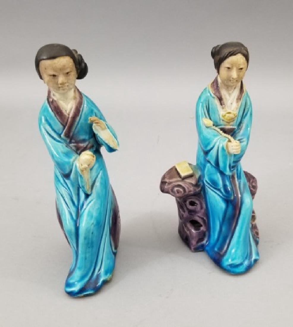 Three Handmade Hand Painted Chinese Statues - 6