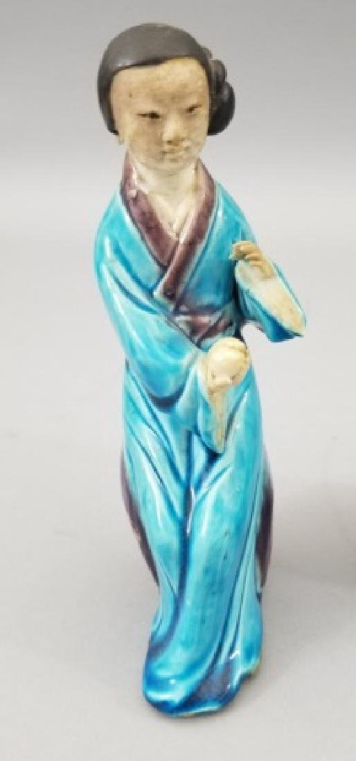 Three Handmade Hand Painted Chinese Statues - 8