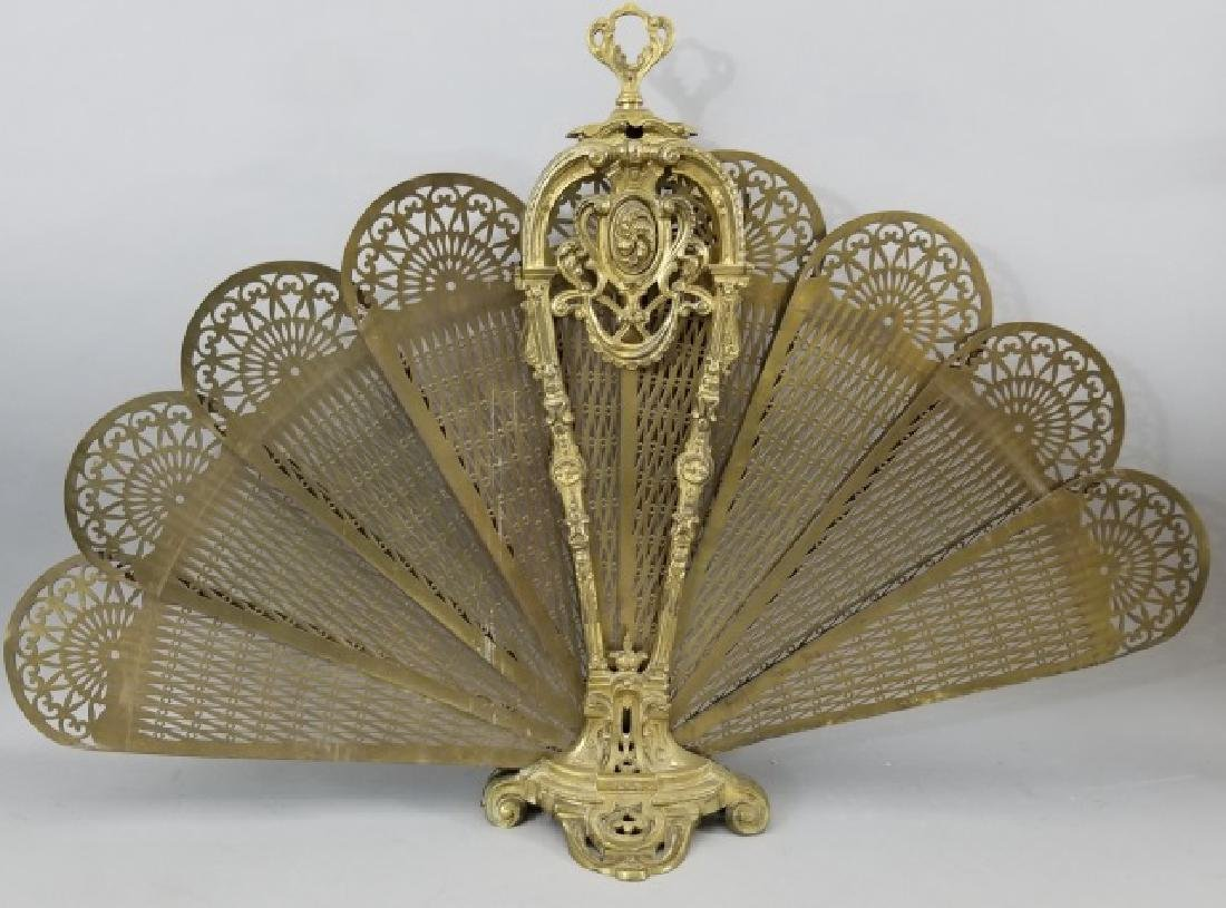 Antique French Style Ormolu Peacock Fire Screen