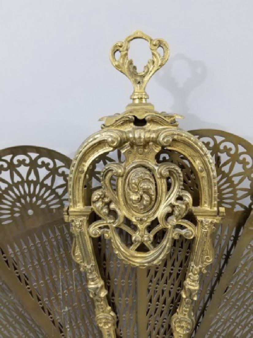 Antique French Style Ormolu Peacock Fire Screen - 3