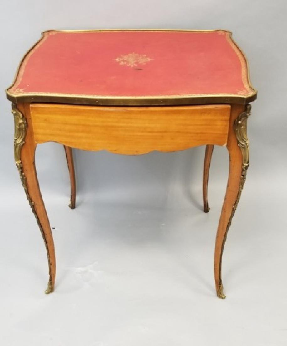 French Empire Style Leather Top Gilt Bronze Table - 2