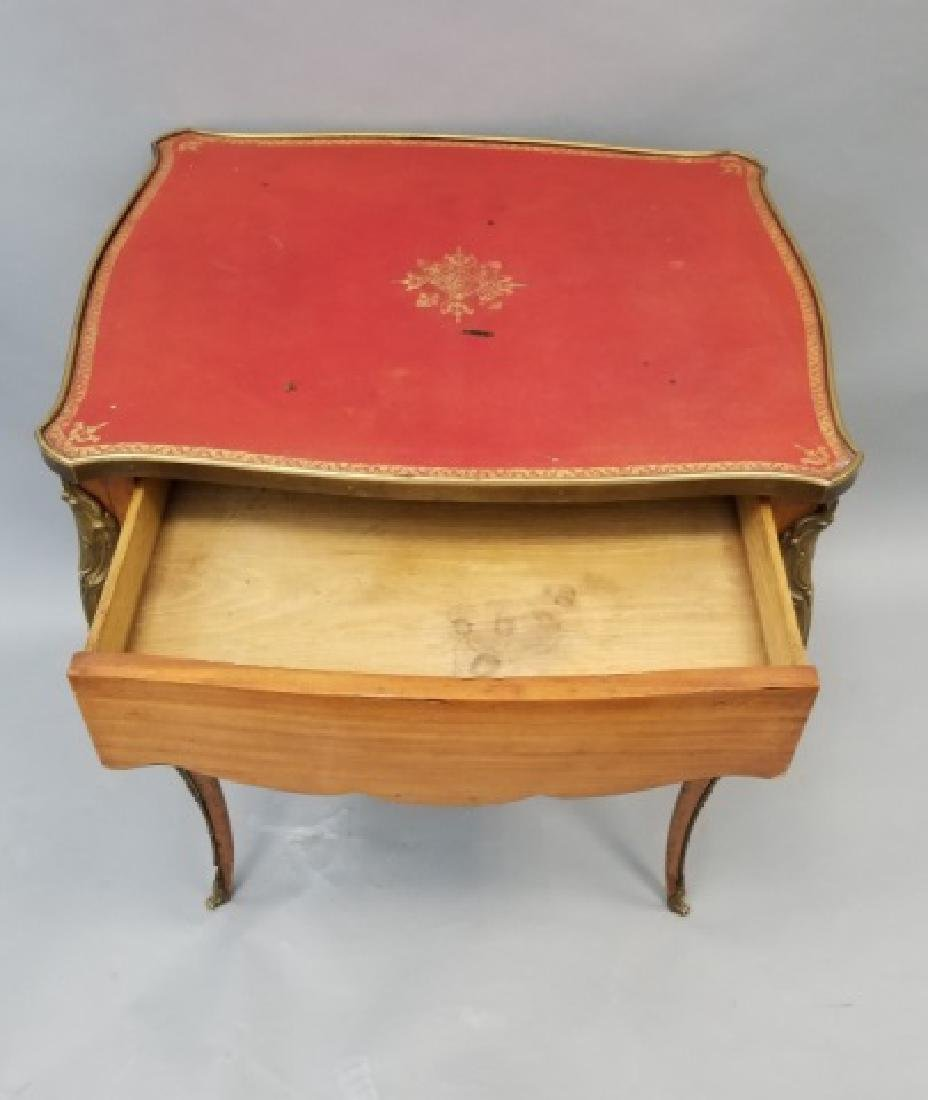 French Empire Style Leather Top Gilt Bronze Table - 6