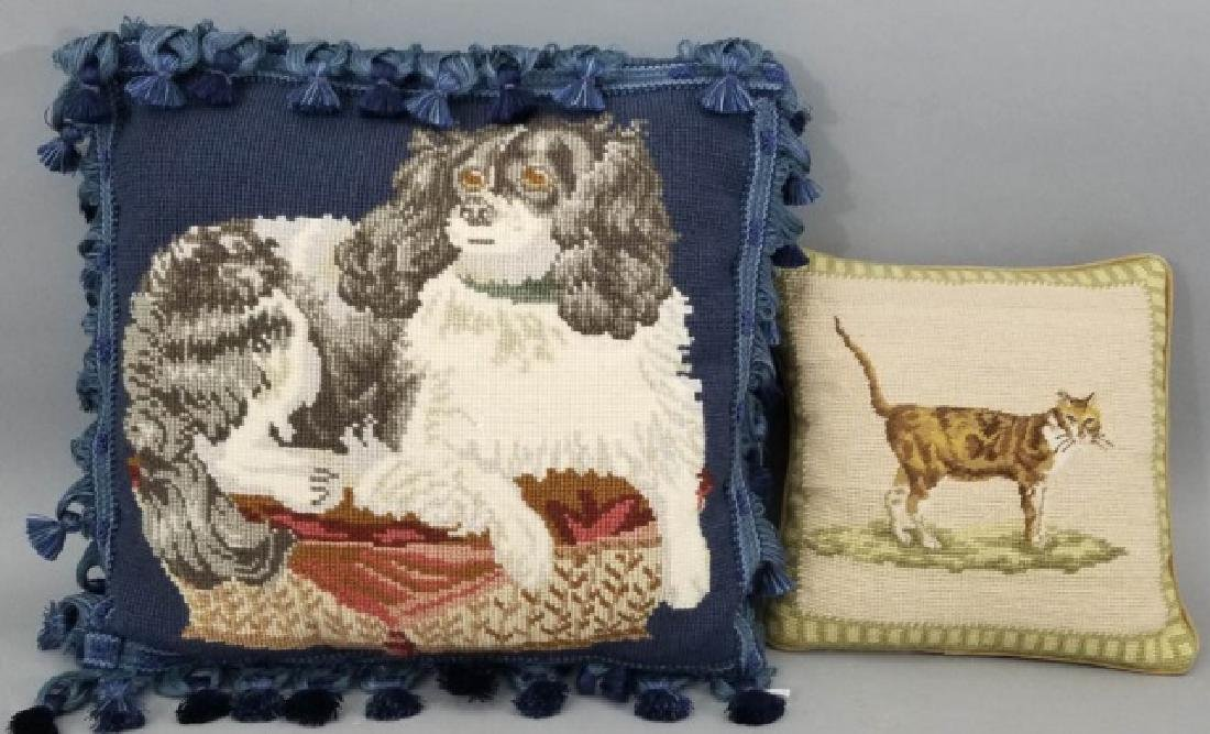 Petite Point Cat Pillow & Needlepoint Dog Pillow