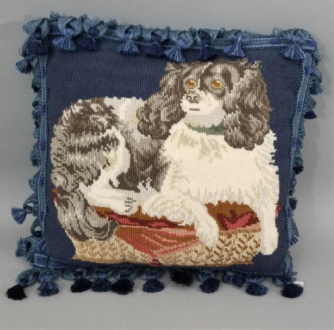 Petite Point Cat Pillow & Needlepoint Dog Pillow - 3