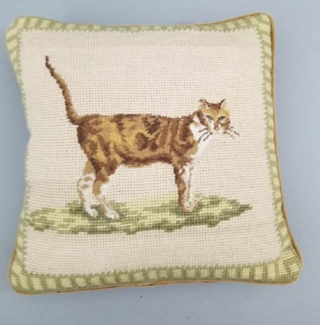 Petite Point Cat Pillow & Needlepoint Dog Pillow - 7
