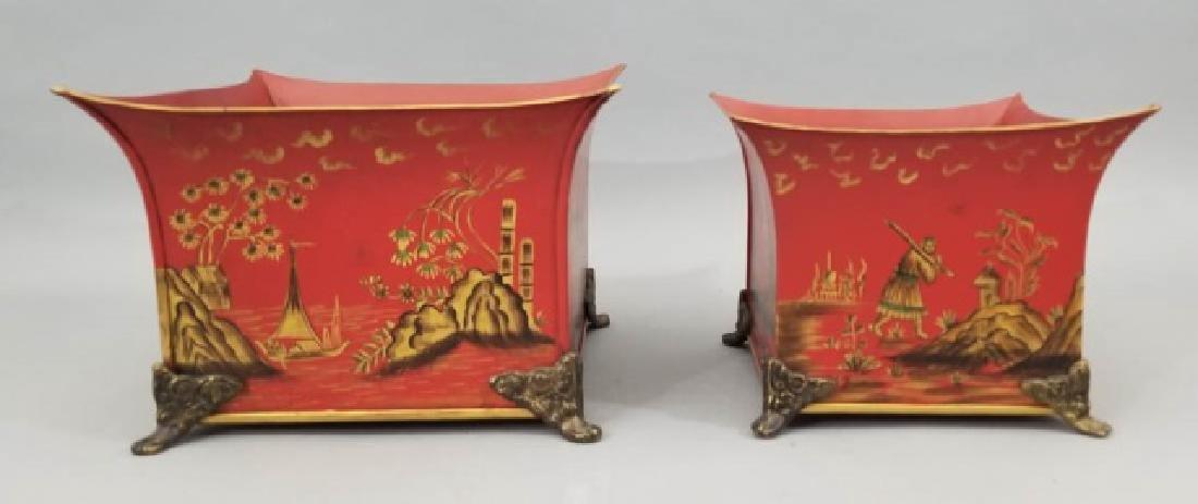 2 Chinoiserie Tole Metal Cache Pot / Planter Pots
