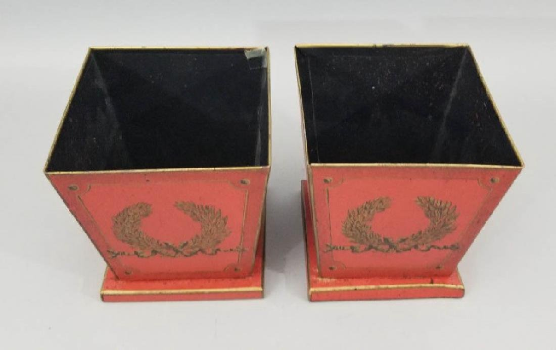 Pair Red & Gold Tole Metal Cache Pot / Planter Pot