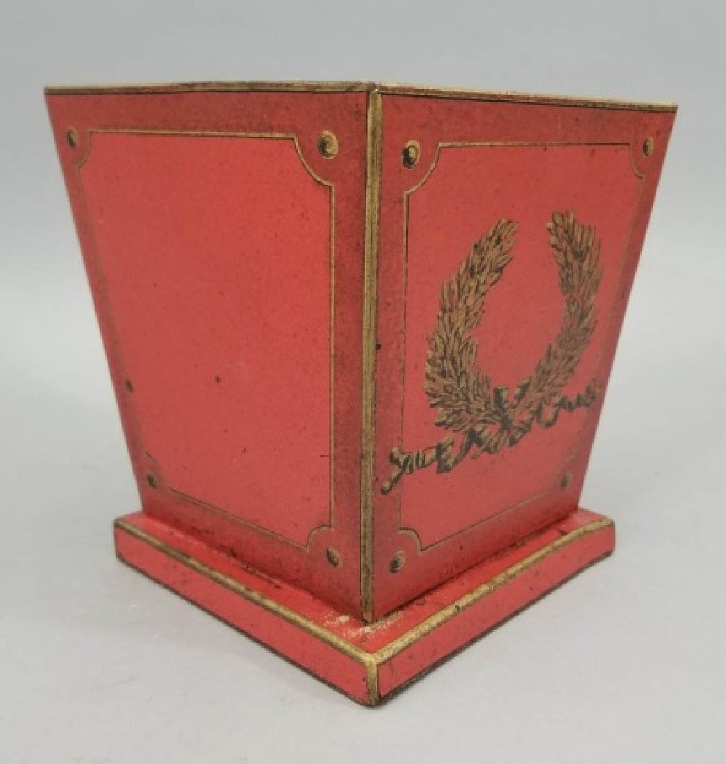 Pair Red & Gold Tole Metal Cache Pot / Planter Pot - 6