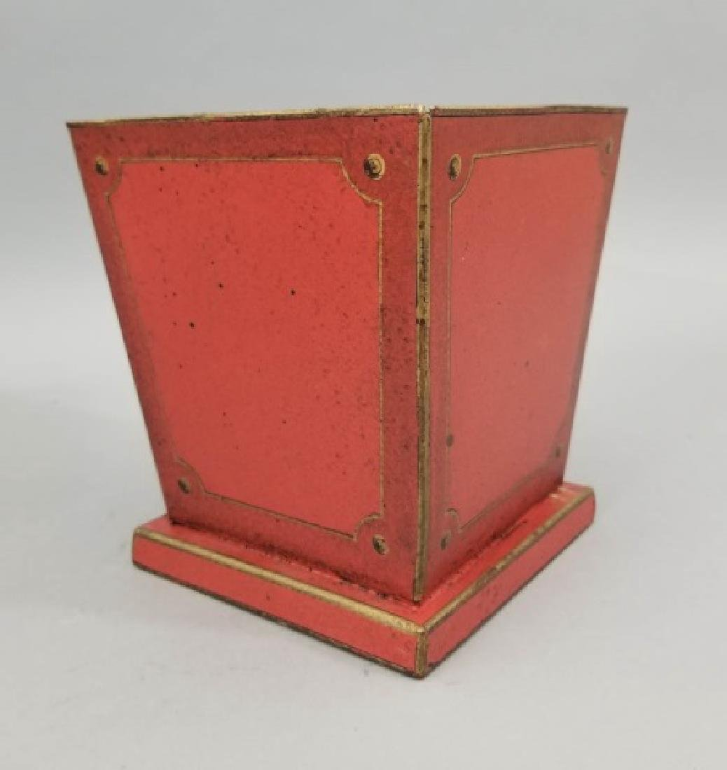 Pair Red & Gold Tole Metal Cache Pot / Planter Pot - 7