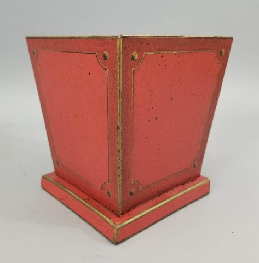 Pair Red & Gold Tole Metal Cache Pot / Planter Pot - 8