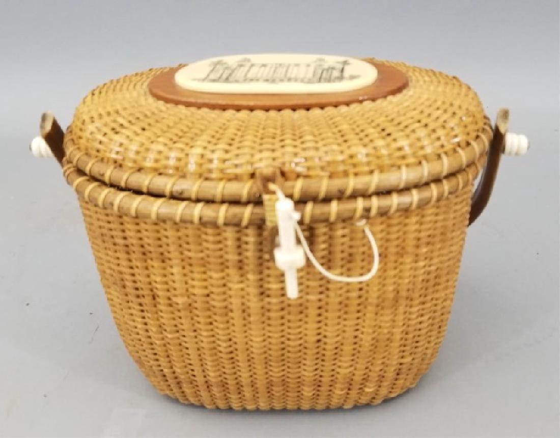 Vintage Handmade & Signed Nantucket Basket w Bone