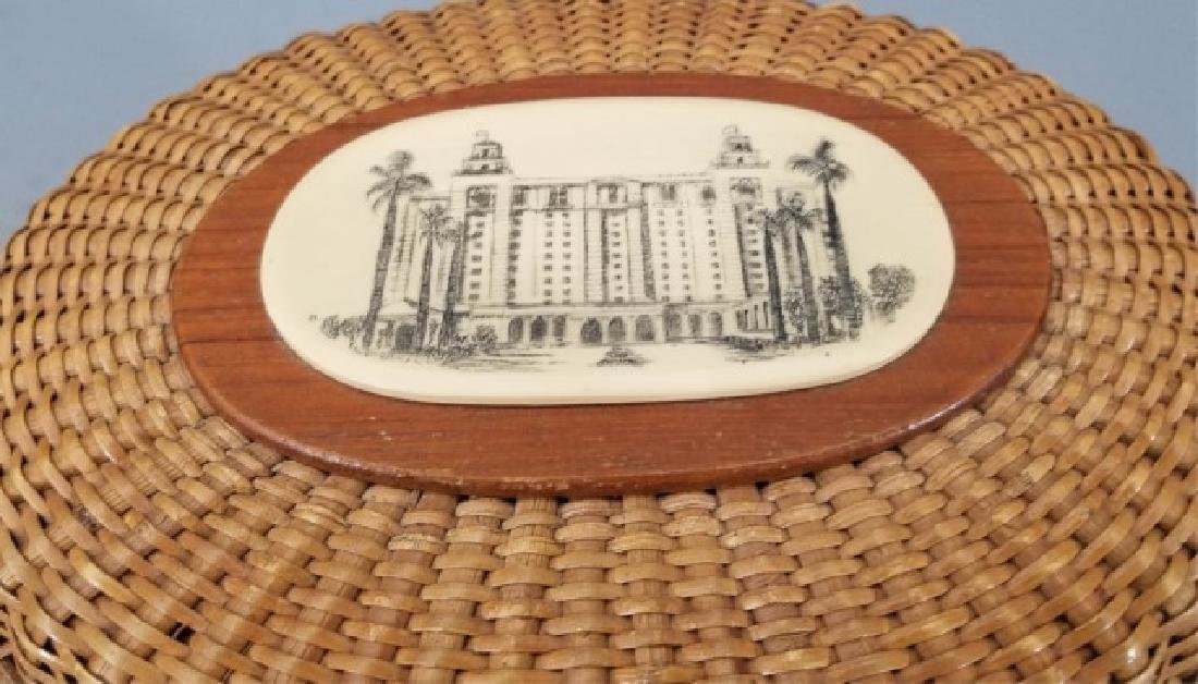 Vintage Handmade & Signed Nantucket Basket w Bone - 4
