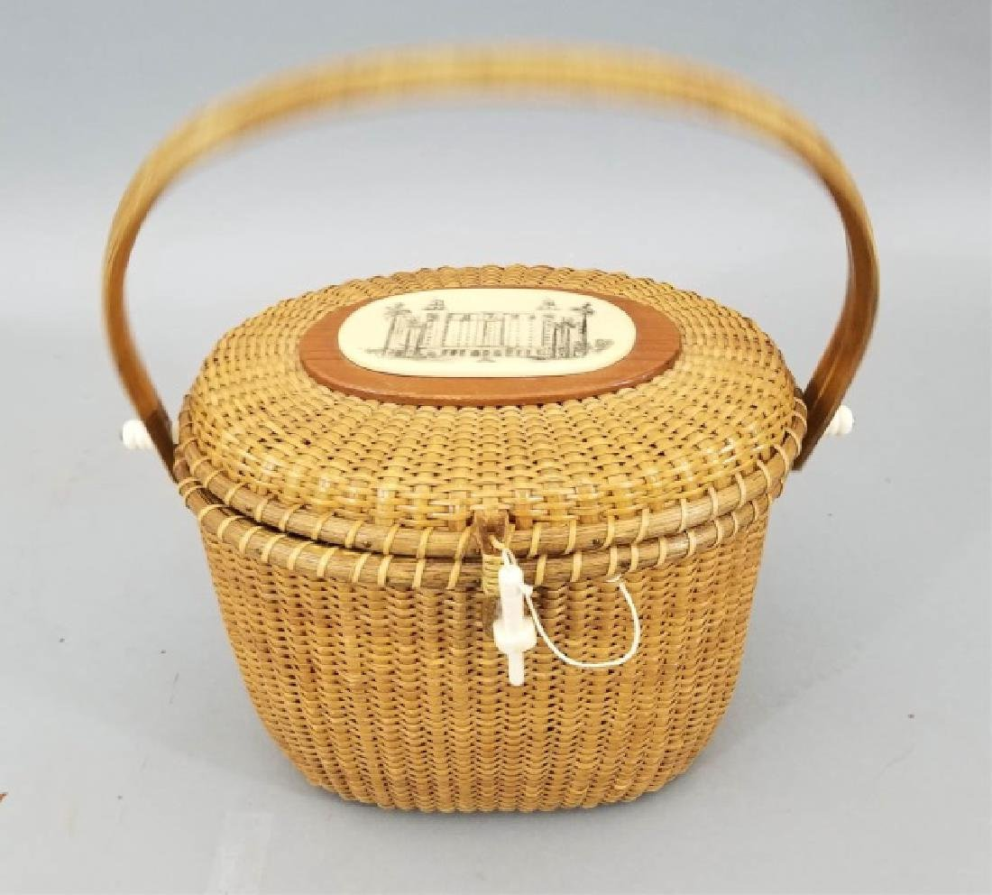 Vintage Handmade & Signed Nantucket Basket w Bone - 5