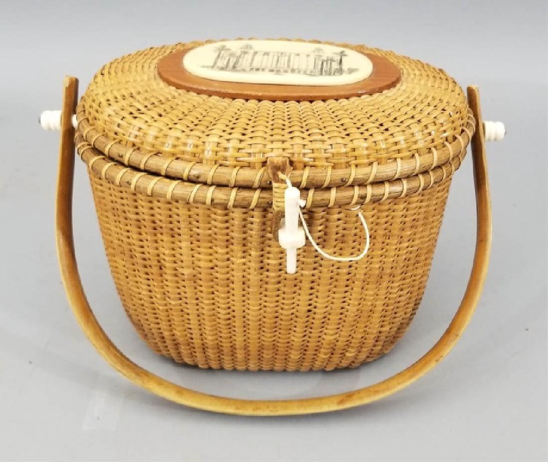 Vintage Handmade & Signed Nantucket Basket w Bone - 6