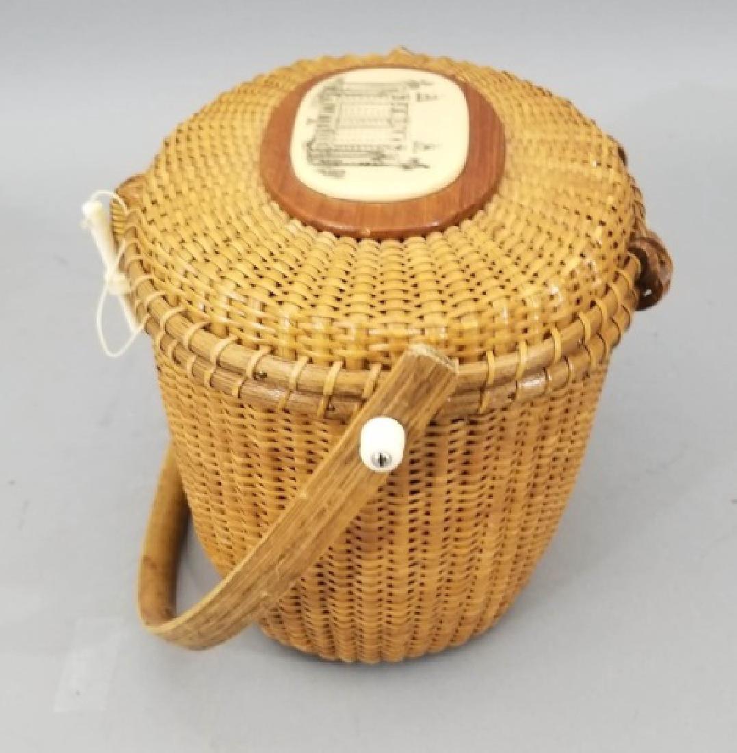 Vintage Handmade & Signed Nantucket Basket w Bone - 7