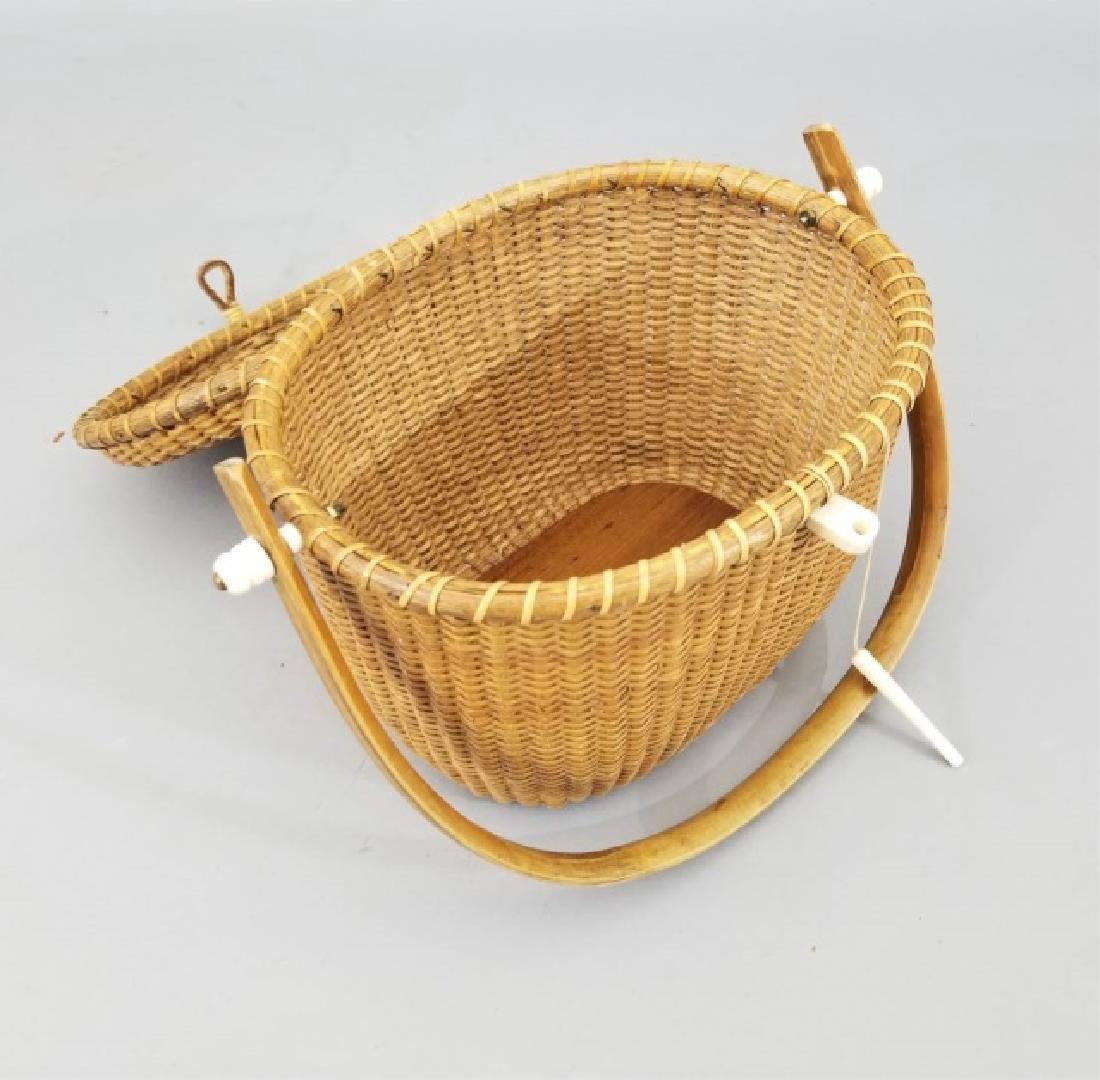 Vintage Handmade & Signed Nantucket Basket w Bone - 8