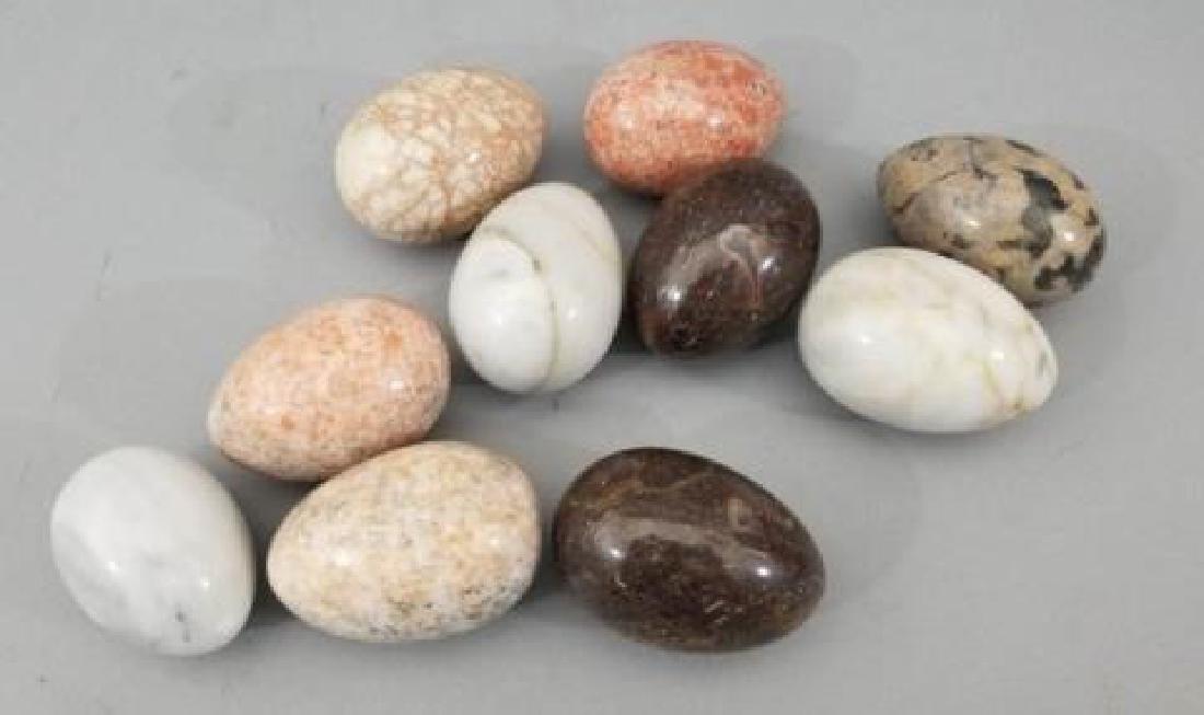 Italian Carved Stone Specimen & Marble Egg Statues