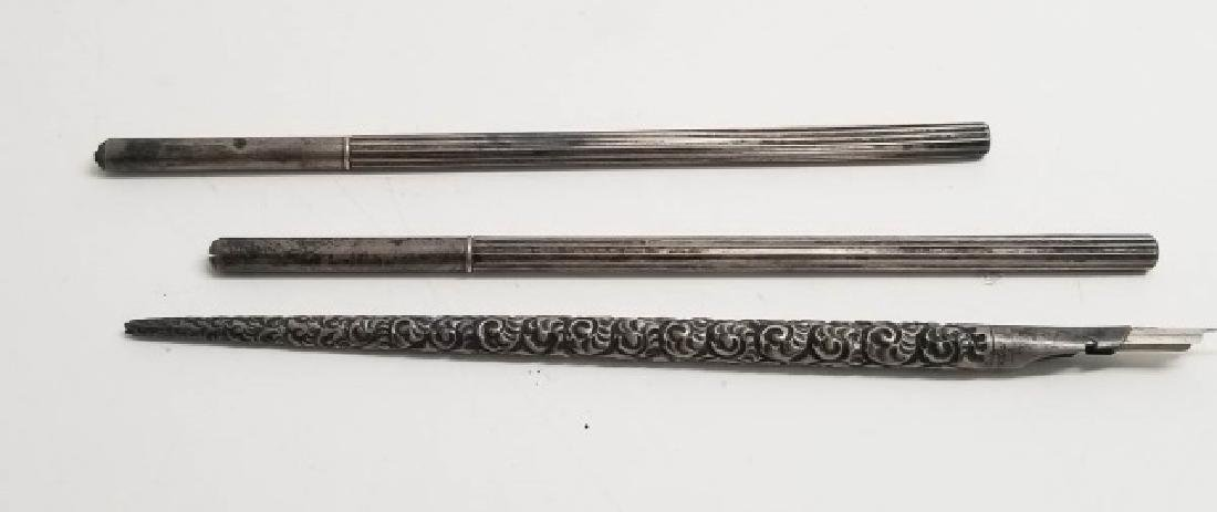 Three Antique Sterling Silver Pens
