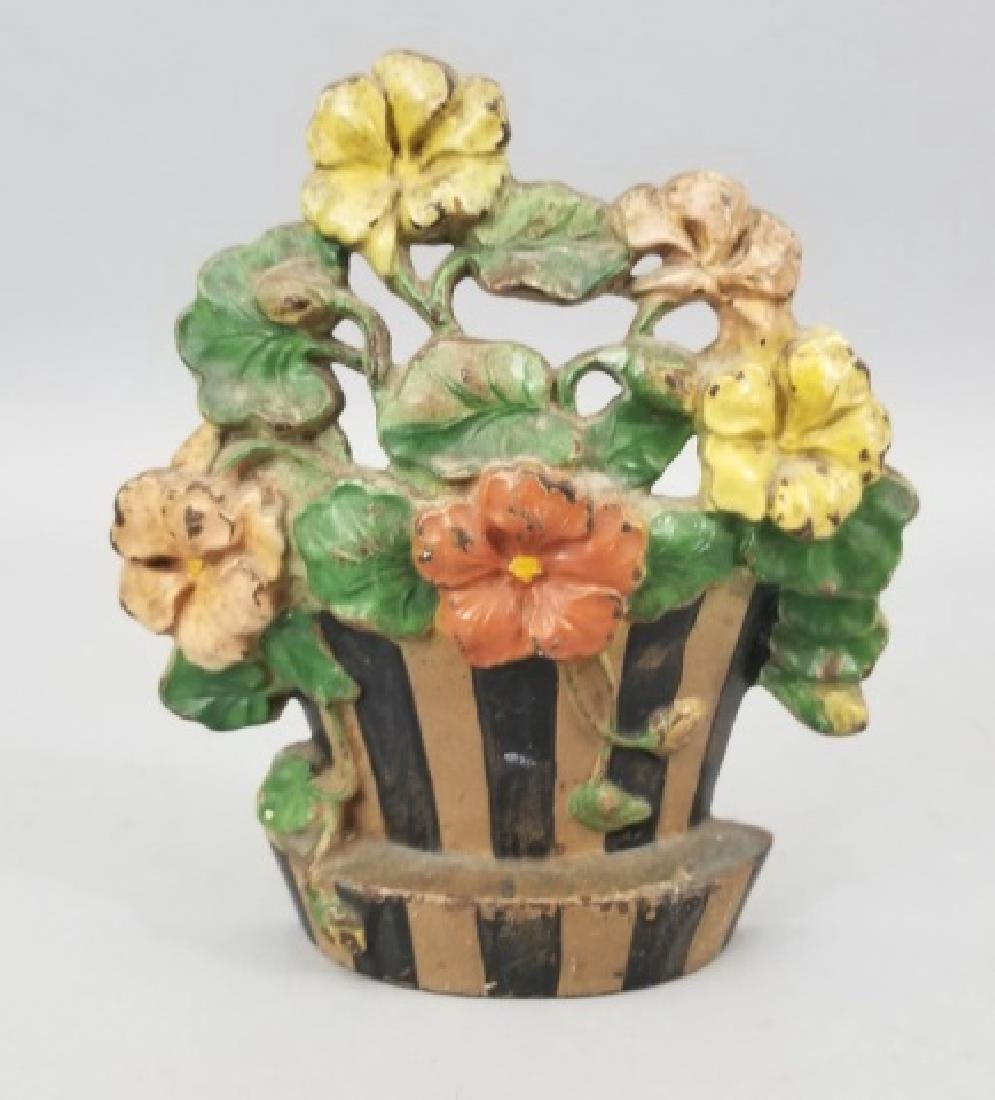 Antique Hand Painted Cast Floral Basket Door Stop