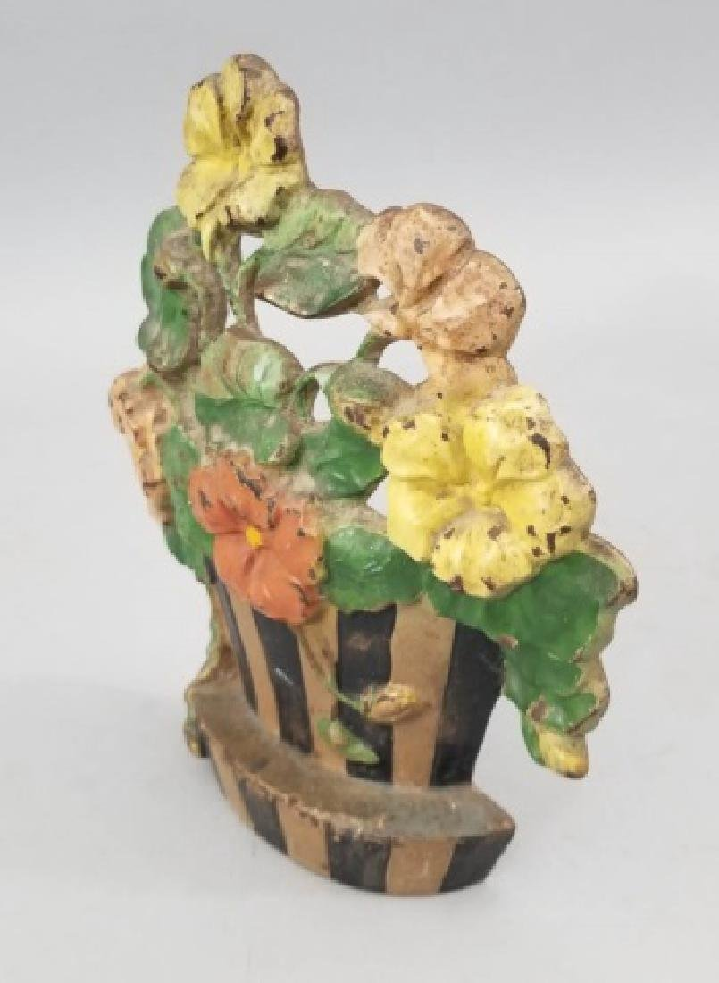 Antique Hand Painted Cast Floral Basket Door Stop - 2