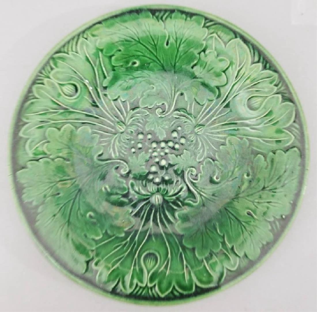 Three Antique Green Majolica Leaf / Flower Plates - 3