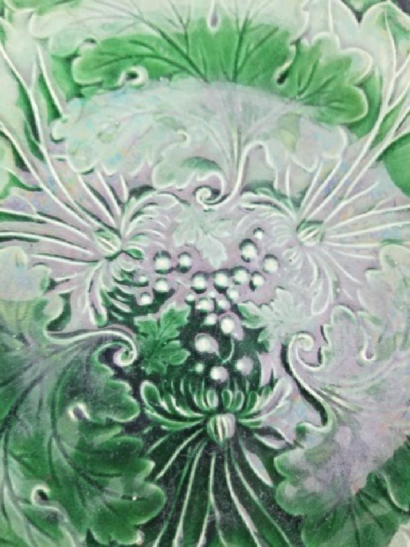 Three Antique Green Majolica Leaf / Flower Plates - 5