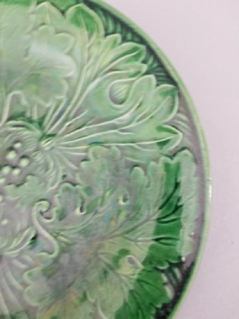 Three Antique Green Majolica Leaf / Flower Plates - 6
