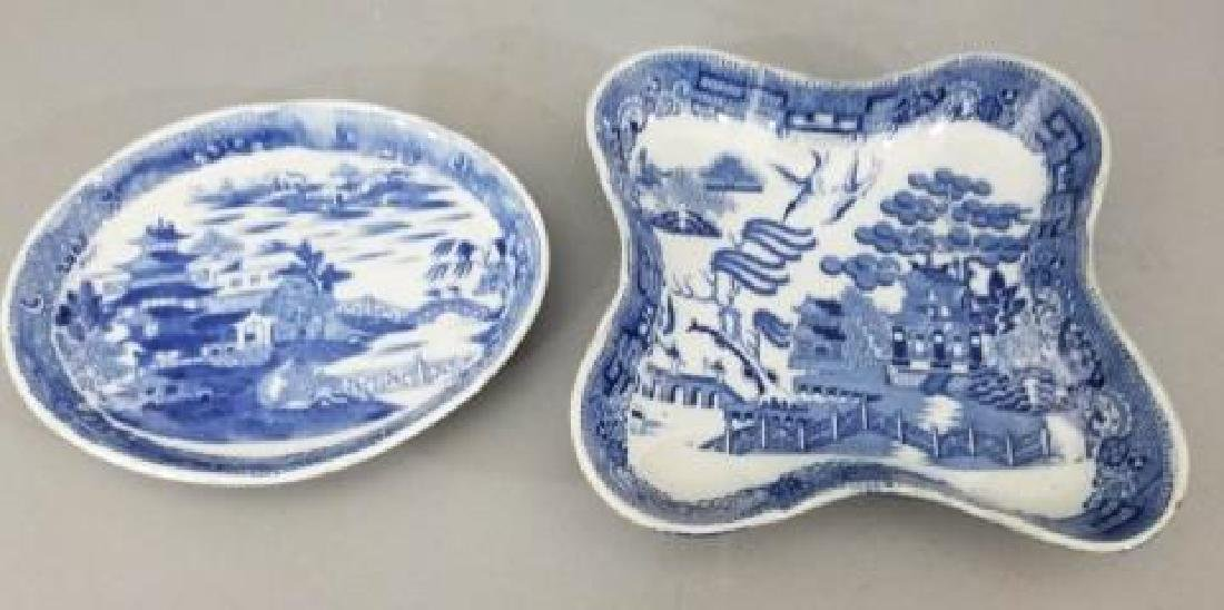 2 Antique Mid 19th C English Blue Willow Trays