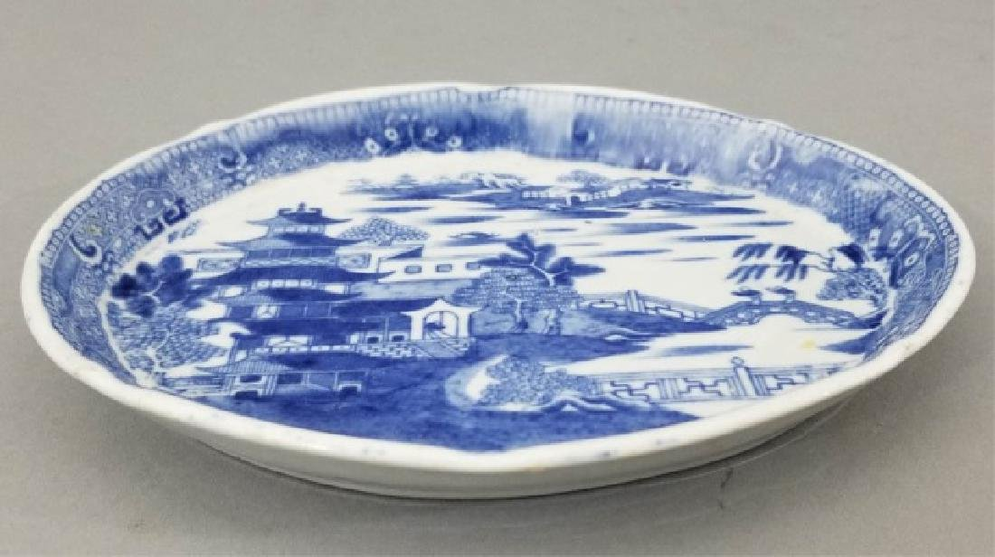 2 Antique Mid 19th C English Blue Willow Trays - 6