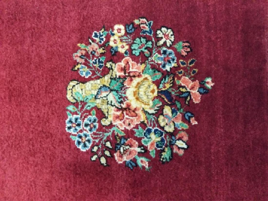 Antique Hand Knotted Wool Floral Bouquet Carpet - 3