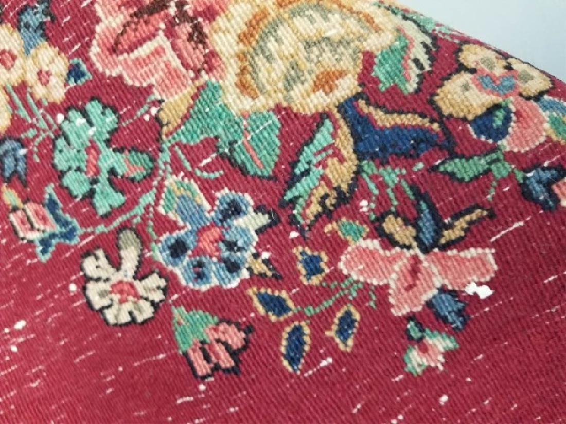 Antique Hand Knotted Wool Floral Bouquet Carpet - 5