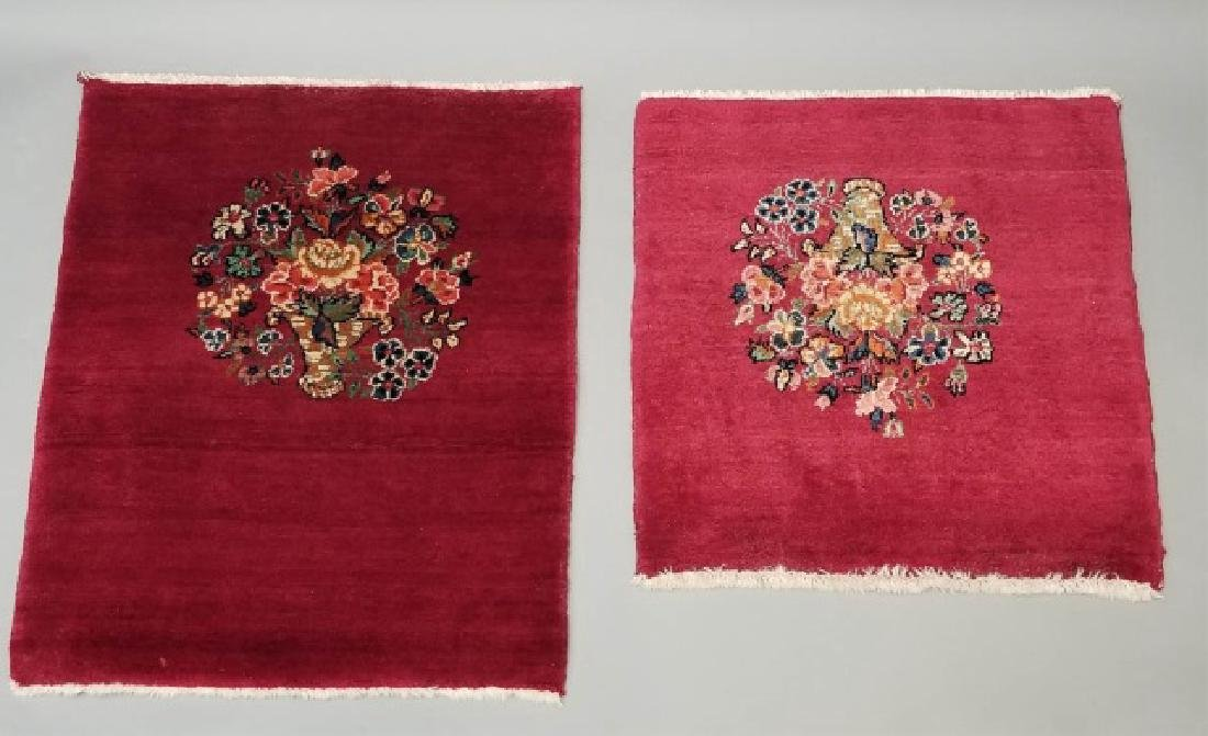 2 Antique Hand Knotted Wool Floral Bouquet Carpets